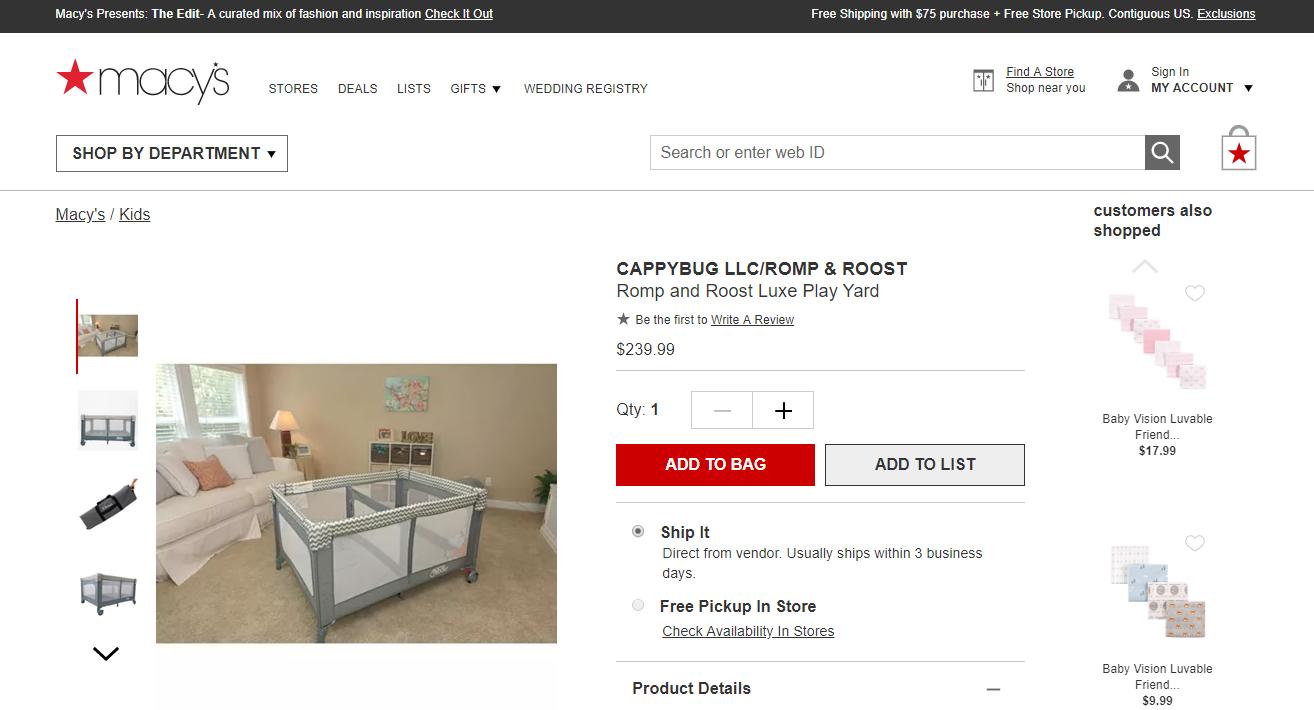 Idea Buyer Product in Macys Success Romp & Roost