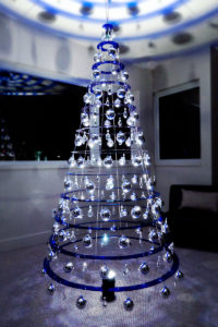 Modern Christmas Tree in blue, as seen on Shark Tank.
